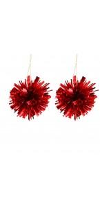 Lot de 2 Suspensions Pompon rouges 7 cm