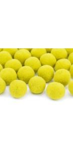 Lot de 20 boules pompon jaune 2 cm