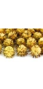 Lot de 20 boules pompon Oursin jaune 2 cm
