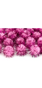 Lot de 20 boules pompon Oursin rose 2 cm