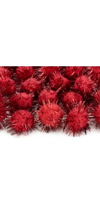 Lot de 20 boules pompon Oursin rouge 2 cm