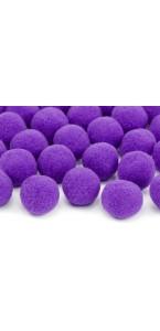 Lot de 20 boules pompon violet 2 cm