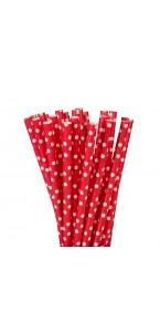 Lot de 20 pailles rouges pois blancs en carton
