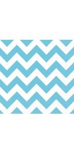 Lot de 20 serviettes Chevron turquoise 33 x 33 cm