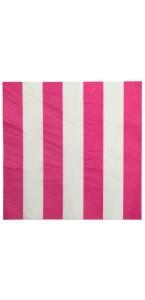 Lot de 20  serviettes en papier fuschia à rayures blanches 33 x 33 cm