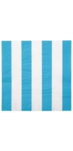 Lot de 20  serviettes en papier turquoise à rayures blanches 33 x 33 cm