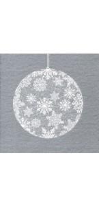 Lot de 20 serviettes intissé  Boule de Noël argent 40 x 40 cm