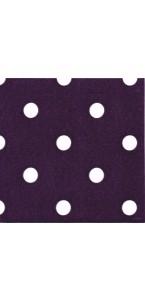 Lot de 20 serviettes intissé prune à pois 25 x 25 cm