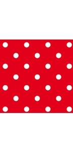 Lot de 16 serviettes intissé rouge à pois 25 x 25 cm