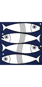 Lot de 20 serviettes intissée Fish 40 x 40 cm