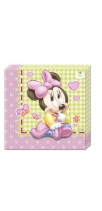 Lot de 20 serviettes jetables Baby Minnie en papier 33 x 33 cm