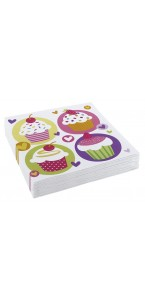 Lot de 20 serviettes jetables Cupcake 33x33 cm