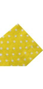 Lot de 20 serviettes jetables jaunes pois blancs en papier 33 x 33 cm