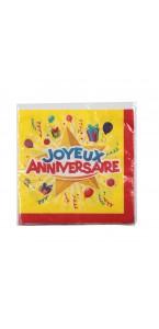 Lot de 20 serviettes jetables  Joyeux anniversaire