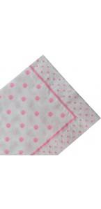 Lot de 20 serviettes jetables  pois roses fille en papier 33 x 33 cm