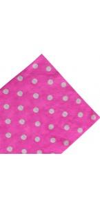 Lot de 20 serviettes jetables roses pois blancs en papier 33 x 33 cm