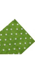 Lot de 20 serviettes jetables vertes pois blancs en papier 33 x 33 cm