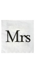Lot de 20 serviettes papier Mrs blanches 33 x 33 cm
