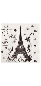 Lot de 20 serviettes papier Paris blanches 33 x 33 cm