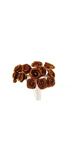 Lot de 24 mini roses satin chocolat