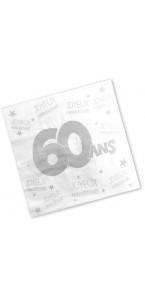 Lot de 24 serviettes jetables 60 ans 3 plis