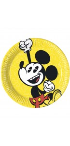 Lot de 25 assiettes jetables Mickey Vintage en carton 23 cm