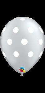 Lot de 25 ballons Polka pois argent en latex 27 cm