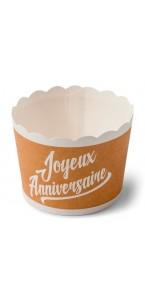 Lot de 25 cakes cup Joyeux anniversaire Kraft et blanc en carton D 6 cm