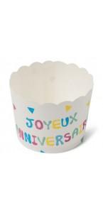 Lot de 25 cakes cup Joyeux anniversaire Tutti Frutti en carton D 6 cm
