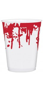 Lot de 25 gobelets en plastique halloween avec éclaboussures de sang