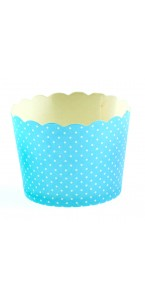 Lot de 25 pots bleu plumetis en carton 5,5 x 4,5 cm