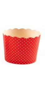Lot de 25 pots rouge plumetis en carton 5,5 x 4,5 cm