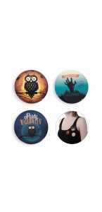 Lot de 3 Badges Citrouille Halloween 6,3 cm