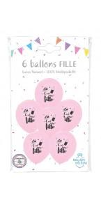 Lot de 6 ballons c'est une fille baby shower en latex rose