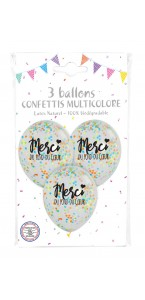 Lot de 3 ballons merci en latex blanc et noir