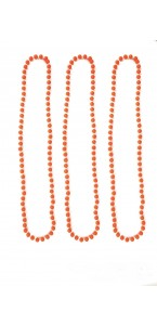 Lot de 3 Colliers de  perles orange fluo