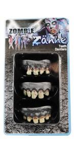 Lot de 3 Dentiers de zombie