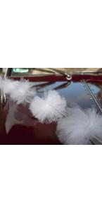 Lot de 3 guirlandes pompons tulle blanc 2 m