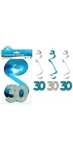 Lot de 3 Guirlandes Spirales 30 ans Hologramme bleues