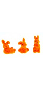 Lot de 3 lapins flockés orange PM