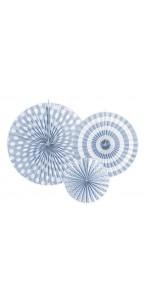 Lot de 3 rosettes décoratives bleu ciel 40/32/23 cm