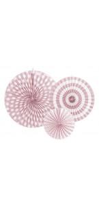 Lot de 3 rosettes décoratives rose pâle 40/32/23 cm