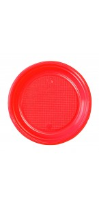 Lot de 30 assiettes ronde en plastique rouge