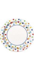 Lot de 36 assiettes jetables carrées en carton à pois multicolores 13,9 cm
