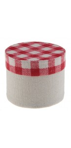 Lot de 4 boîtes à dragées Tradition vichy rouge/blanc 5 x  4,5 cm