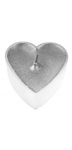 Lot de 4 bougies chauffe-plat cœur argent 3,5 x 3,5 cm