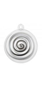 Lot de 4 boules transparentes spirale argent
