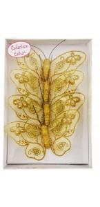 Lot de 4 papillons or pailletés 9 cm