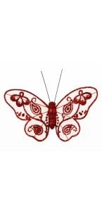 Lot de 4 papillons rouge pailletés 9 cm