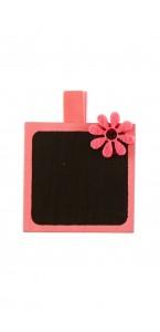 Lot de 4 porte-nom Ardoise carrée rose sur pince